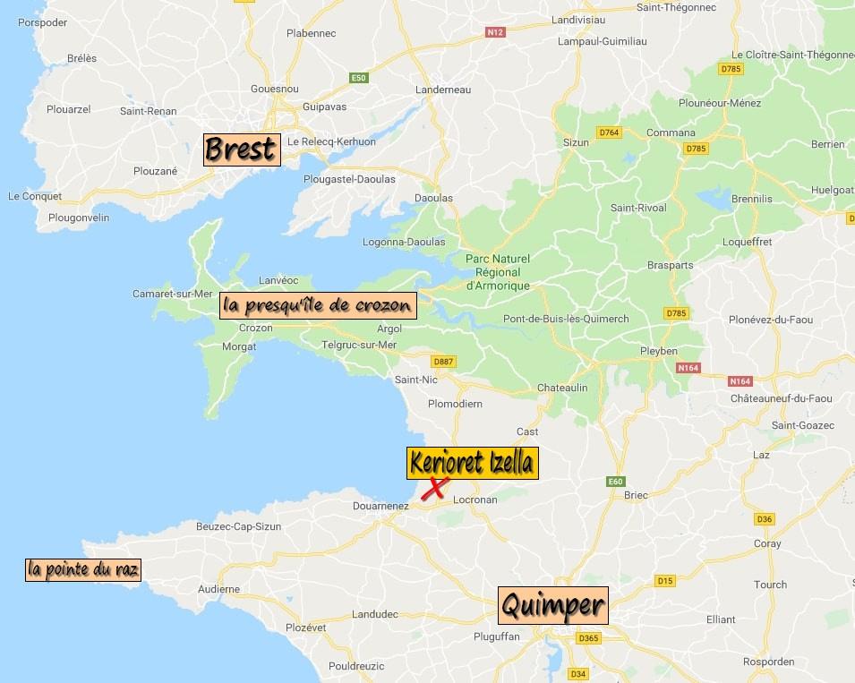 situer notre location de kerioret izella à douarnenez